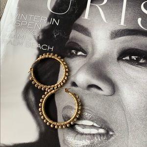 Vintage hoop earrings in old gold style